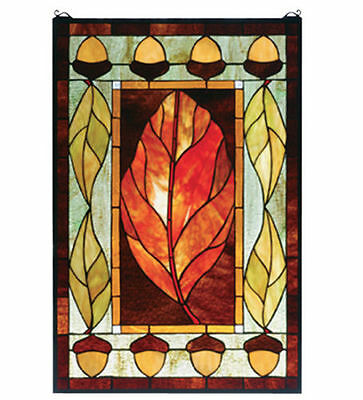"Meyda Lighting 73207 21""W X 31""H Harvest Festival Stained Glass Window Panel New"