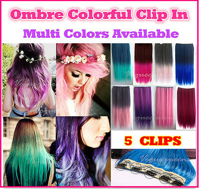 Hot Ombre Colorful 5 Clips In Hair Piece Hair Extension