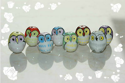 Lucky Owl 10pcs mix/black/red/pink/green/blue color handcrafted porcelain beads