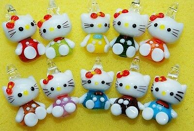 Lucky 10pcs Mix/Red/Pink/Blue/Green/Orange Color Kitty Cat Pendant Glass Beads