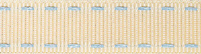 Berisfords Stitched Grosgrain Ribbon 15mm Ivory/Sky - sold by the metre