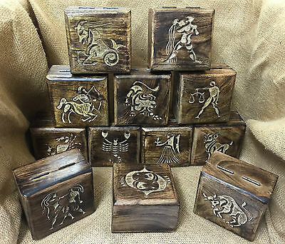 New Zodiac Astrology Horoscope Star Sign Fair Trade Mango Wooden Trinket Boxes
