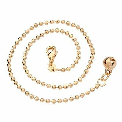 """9K 9ct Yellow """"Gold FILLED"""" Ladies Beaded ANKLE CHAIN """"bell ANKLET, 10.50"""""""