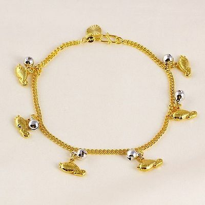 """24ct Yellow & White """"Gold FILLED"""" Fish & Bells ANKLE CHAIN ANKLET. 10.24"""" Gift"""