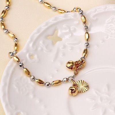 """9K 9ct White & Yellow """"Gold FILLED""""Ladies Beaded ANKLE CHAIN Bell ANKLET 10.63"""""""
