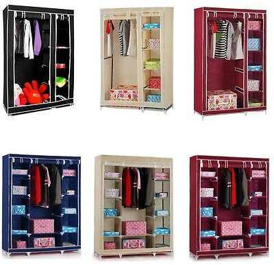Double/Triple Canvas Wardrobe Cupboard Hanging Clothes Rail Storage