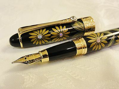Handmade Japanese Urushi Lacquer Makie fountain Pen Sunflower