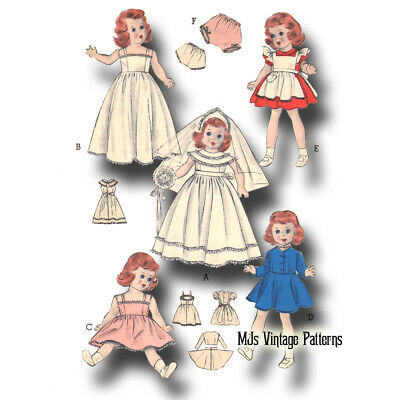 "Vtg 50s Doll Clothes Wedding Dress Pattern ~ for 20"" 21"" Toni Revlon Sweet Sue"