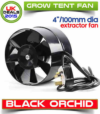 Black Orchid 100mm 4 Inch Diameter Axial Flo In Line Horticultural Extractor Fan