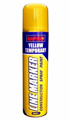 YELLOW TEMPORARY Line MARKER Spray 300 ml Yellow CONSTRUCTION SPRAY PAINT