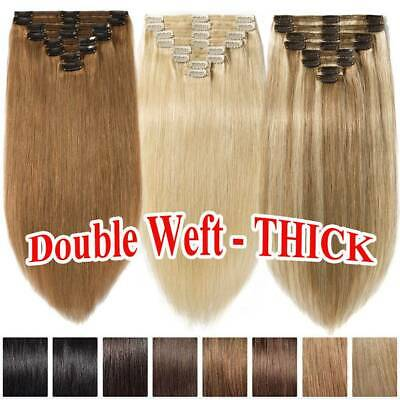 THICK Best Clip in 100% Real Remy Human Hair Extensions Double Weft Full Head
