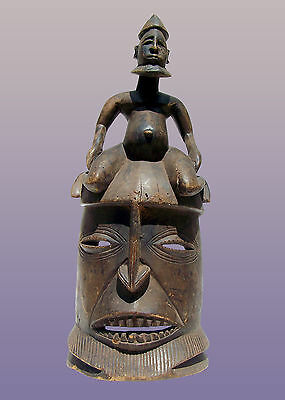 """Dogon Mask with figure from Mali 24"""" Tall"""