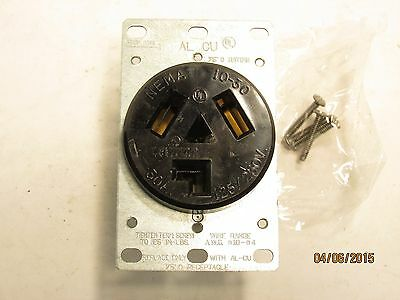 Leviton 5207 black flush receptacle 3p 3w 30a 125/250v 10-30R NEW