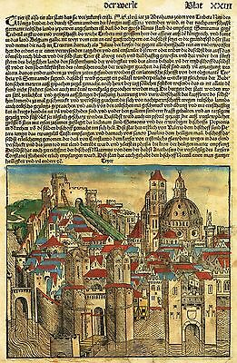 By Schedel  TRIER  Rare Woodcut Engraving 1493