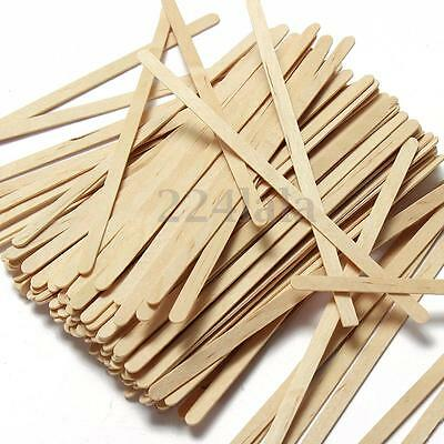 100X Flat Wooden Lollipop Ice Cream Stick Coffee Tea Stirrers Mixers Craft DIY