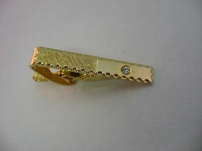 Smooth & Textured Clear Jewel Gold Tone Vintage Mens Tie Bar Clip Jewelry