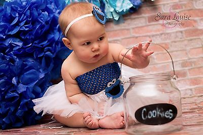 NEW! 3 pc Blue White Cookie Monster Baby Girl Infant Tutu Gift Set 0-24 Months