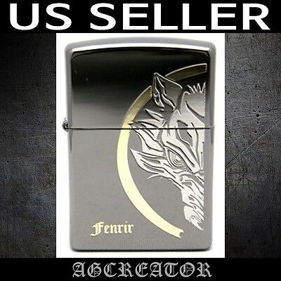 New Japan Korea Zippo lighter fenrir black ice double sided engreved