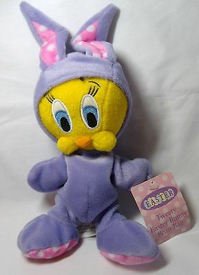 WB Warner Bros Looney Tunes Tweety Bird Easter Bunny Rabbit Plush Bean Bag w HT