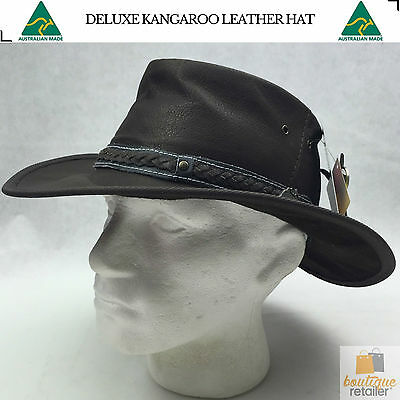 Deluxe KANGAROO LEATHER HAT Made In Australia Foldaway Squashy Outback Travel