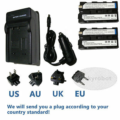 2X Replacement Battery + charger for Sony NP-F330 NP-F530 NP-F550 NP-F570