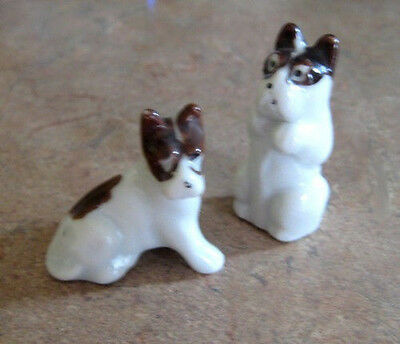 Vintage Japanese Porcelain Two Terrier Dogs Figurines c.1950