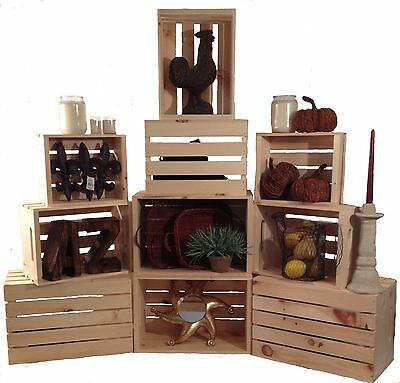Stacking Crates -SET OF 3- Rustic Wood Display Shelf Crates-Retail-Books-Shelves