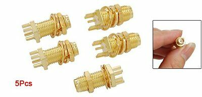 5 pcs End Launch PCB Mount Bulkhead SMA Female RF Coaxial Connector New