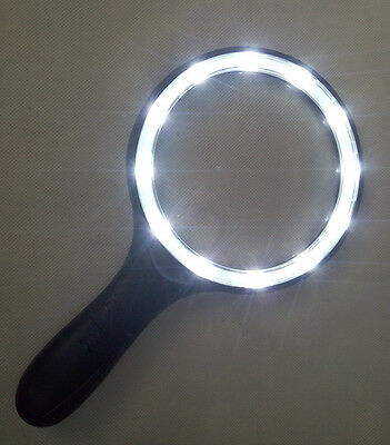 138mm Big Lens Illuminated Magnifier Handheld Magnifying Glass 12 LED Lighting