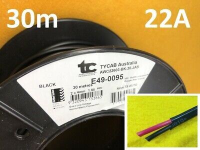 30m x 22 Amp Auto cable 4 mm Twin core dual sheath electrical wire TYCAB