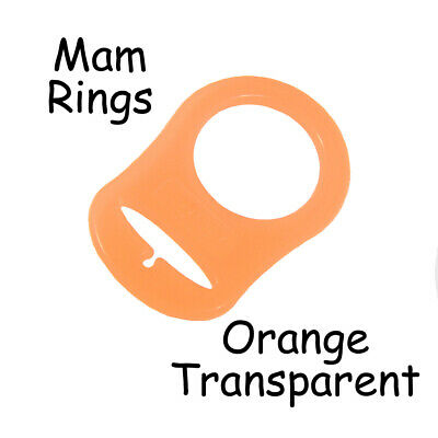100 MAM Ring Button Style Pacifier Clip Adapter - Orange Transparent Silicone