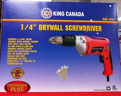 "King Canada Tools 8315 1/4"" DRYWALL SCREWDRIVER Tournevis à Cloisons Sèches 1/4"""