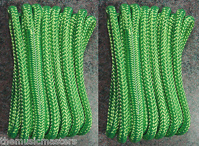 """(2) Green Double Braided 1/2"""" x 15' ft Boat Marine HQ Dock Lines Mooring Ropes"""