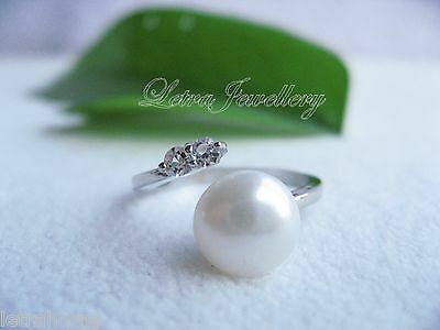 AAAA Cultured Freshwater Pearl 925 Silver Polished plated Adjustable Rings Gift