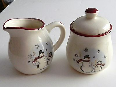 Royal Seasons Stoneware Snowmen Pattern Lidded Sugar Bowl and Creamer