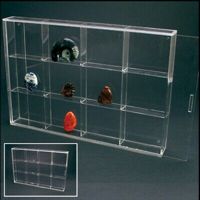 """Rock Display Case-Acrylic Glass Curio w/12 Compartments 3"""""""