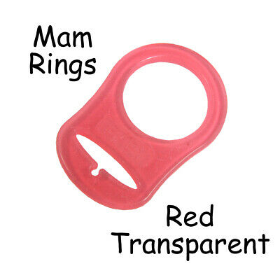 25 Red Transparent Silicone MAM Ring Button Style Dummy Pacifier Clip Adapter