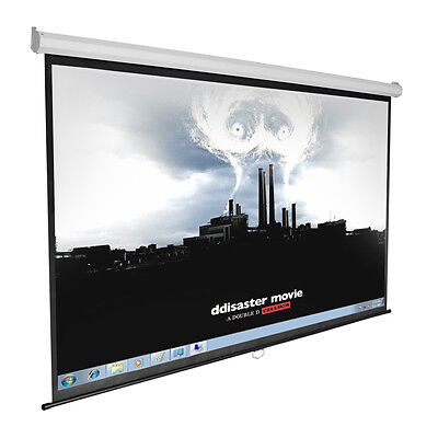 "Manual Projector Screen 100"" 16:9 Projection Matte Pull Down Home Movie Theater"