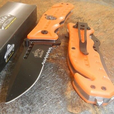 Master Blaze Orange Skull Medallion Tactical Rescue Spring Assisted Pocket Knife