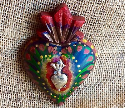 Sacred Heart Wall Decor W/ Milagro Hand Carved and Painted Wood Mexican Folk Art