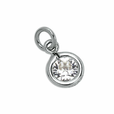 925 Sterling Silver & Clear 5mm Round CZ Crystal April Birthstone Charm