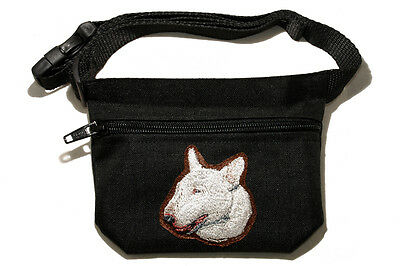Embroidered Dog treat pouch/bag - for dog shows. Breed - Bull Terrier (white)