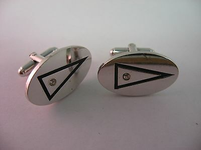Great Minimalist Triangle Silver Tone Oval Clear Jewel VIntage Mens Cufflinks