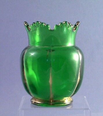 Vase 19th Century EAPG Victorian Green Glass Gilded 5 Inches