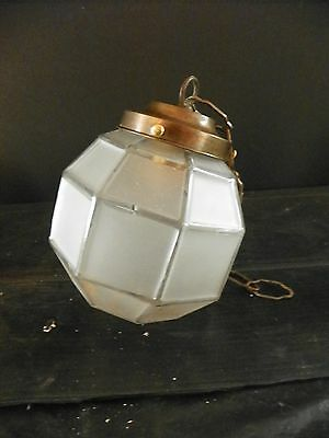 "Antique Hex Shaped Ball Shade W 3 1/2"" Fitter And Chain  (2247)"