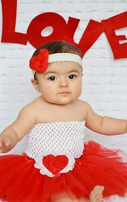 NEW! 4 pc Valentines Day Red White Baby Girl Infant Tutu Gift Set 0-24 Months