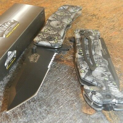 Master Tactical Tanto GREY SKULL CAMO Rescue Spring Assisted Open Pocket Knife