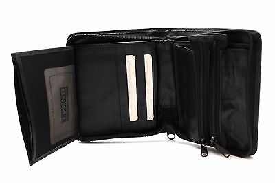 Black Euro Bi-Fold Wallet 10 Cards Zipper Organizer Coin Pouch TREND Leather