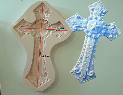 Holy Communion large Silicone Mould Cross Religious Baby Christening Sugarcraft