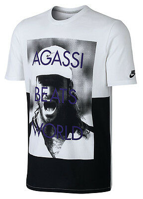 New Nike AIR FLARE AGASSI Tee Shirt 695733-100 White Tennis Andre